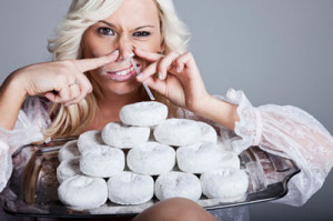 woman-snorting-doughnuts